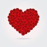 En hjärta som göras av stiliserade röda rosor Arkivfoto