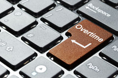 En horas extras botón en el teclado Fotos de archivo libres de regalías