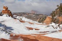 En horisontalbild av windblown snö på och runt om olycksbringarna i ställe i sydliga Utah kallade lite den Olycksbringare staden royaltyfria bilder