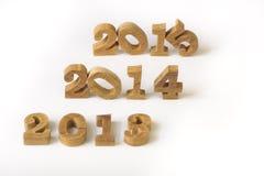 2013, 2014 en 2015 houten aantallenstijl Stock Foto