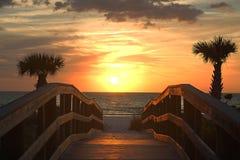 Härlig solnedgång över golfen av Mexico Arkivfoto