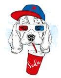 En hund i exponeringsglas 3d och ett lock, med ett exponeringsglas av sodavatten Fullblods- valp också vektor för coreldrawillust Arkivfoto