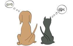 En hund och en katt som tänker om deras favorit- mat Royaltyfri Bild