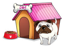 En hund utanför hundkojan vektor illustrationer