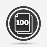 En icono de la muestra de las hojas del paquete 100 símbolo de 100 papeles Foto de archivo