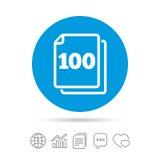 En icono de la muestra de las hojas del paquete 100 símbolo de 100 papeles Imagenes de archivo