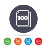 En icono de la muestra de las hojas del paquete 100 símbolo de 100 papeles Fotos de archivo libres de regalías