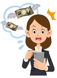 En iklädd affärskvinna en dräkt som förvånas på avgiften för bruk av mobiltelefonen royaltyfri illustrationer