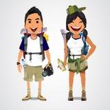 En illustration av affärsföretagturism - pojken och flickan - vect Royaltyfri Foto