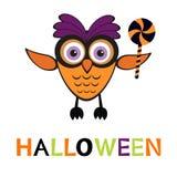 En illustration av den gulliga halloween ugglan Arkivbilder