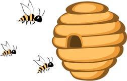 En illustration av den lösa bikupan för tecknad film med bin Royaltyfri Fotografi
