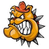 En illustration av en djur tecken- eller sportmaskot för våldsam bulldogg stock illustrationer