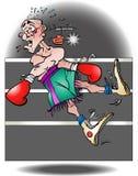 En illustration av en boxare som ut knackas stock illustrationer