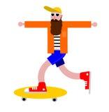En illustration av en skäggig hipsterskateboradåkare med utsträckta armar royaltyfri illustrationer
