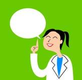 En illustration av en vänlig sjuksköterska som ger klok rådgivning stock illustrationer