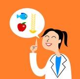 En illustration av en vänlig sjuksköterska som ger klok rådgivning på matning vektor illustrationer