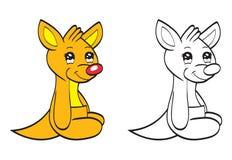 Den gulliga tecknad film behandla som ett barn kängurun Arkivbilder
