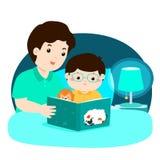 En illustration av en fader som läser en läggdagsberättelse till hans vektor illustrationer
