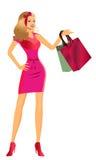Shoppingflicka stock illustrationer