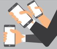 En illustration av händer på mobil Arkivfoto