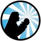 En illustration av jungfruliga Mary med en helgedom behandla som ett barn stock illustrationer