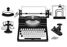 Kontorstillförsel och skrivmaskin vektor illustrationer