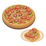 Läcker Deluxe Pizza och skivad Pizza på maträtt royaltyfri illustrationer