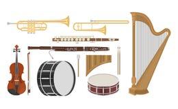 En illustration av musikinstrumentuppsättningen Royaltyfria Bilder