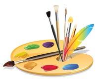 Paintbrush och palett Royaltyfri Foto