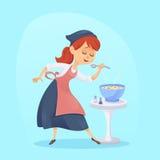 En illustration av rolig gullig matlagning för hemmafru för tecknad filmkockkvinna Royaltyfri Fotografi