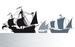 Ships av Christopher Columbus vektor illustrationer