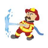 En illustration av tecknad filmbrandmannen stock illustrationer