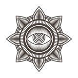 En illustration för vektor för bakgrund för ögonmandalasmattrande stock illustrationer