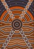 En illustration som baseras på aboriginal, utformar av pricker målningdepicti Arkivbilder