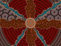 En illustration som baseras på aboriginal, utformar av pricker målningdepicti Royaltyfri Bild