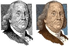 En illustrerad stående av Benjamin Franklin vektor illustrationer