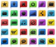 Fastställda färgrika symboler Royaltyfri Fotografi