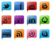 Fastställda sociala färgrika symboler Arkivbild