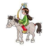 En indier på hästrygg med den roliga komiska knappsymbolen för pilbåge och för pil till platser Royaltyfria Bilder