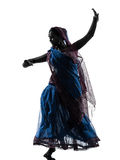 Indisk silhouette för kvinnadansaredans Arkivbilder
