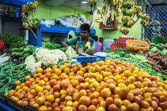 En indisk man säljer grönsaker, och frukter på hans gata shoppar Royaltyfri Fotografi