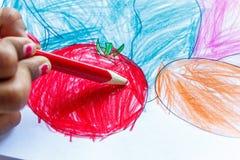 En indiskt sedd teckning för flicka barn Arkivfoto