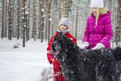 En invierno, la nieve cae en el bosque nevoso, dos niñas juega Imagen de archivo