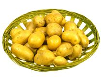 En isloted korg med potatisar Royaltyfri Fotografi