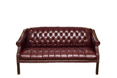 Burgundy sofa Arkivfoto