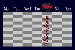En isolerad kalender med det svarta fredag datumet markerade royaltyfri illustrationer