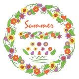 En isolerad krans av sommarblommor royaltyfri illustrationer