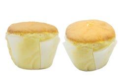 En isolerad muffin med vaniljanstrykning Arkivfoton
