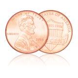 En isolerad USA-cent Arkivfoto