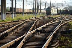 En järnvägsstation. Arkivbild